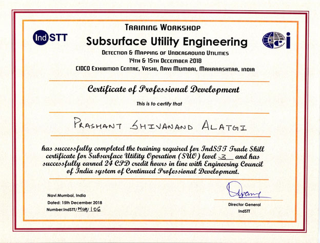 Certificate of Professional Development for Subsurface Utility Operation (SUO) on 15-12-2018.
