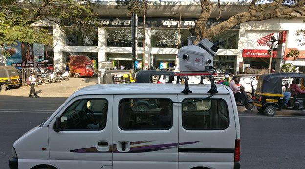 'Leica Pegasus Two' mobile LiDAR system mounted on compact 'Maruti Eeco' four-wheeler for accurately mapping narrow city roads.