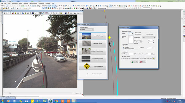 Data processing of the Pavement camera using 'Leica Map factory' software.